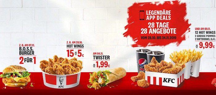 KFC 28 Tage   28 Angebote: heute: 15 Hotwings für 5€