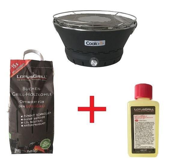Cook it 90230   35cm Ø rauchfreier Holzkohle Tischgrill + LotusGrill Kohle und Brennpaste für 49,90€