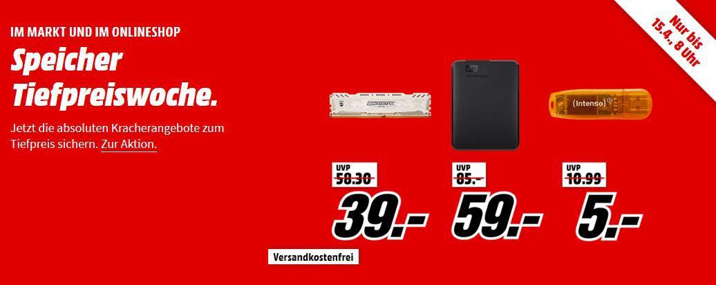 Media Markt Speicher Tiefpreis Woche: Finale z.B. Crucial Ballistix Sport LT 8GB DDR4 3000 GB für 39€ (statt 50€)