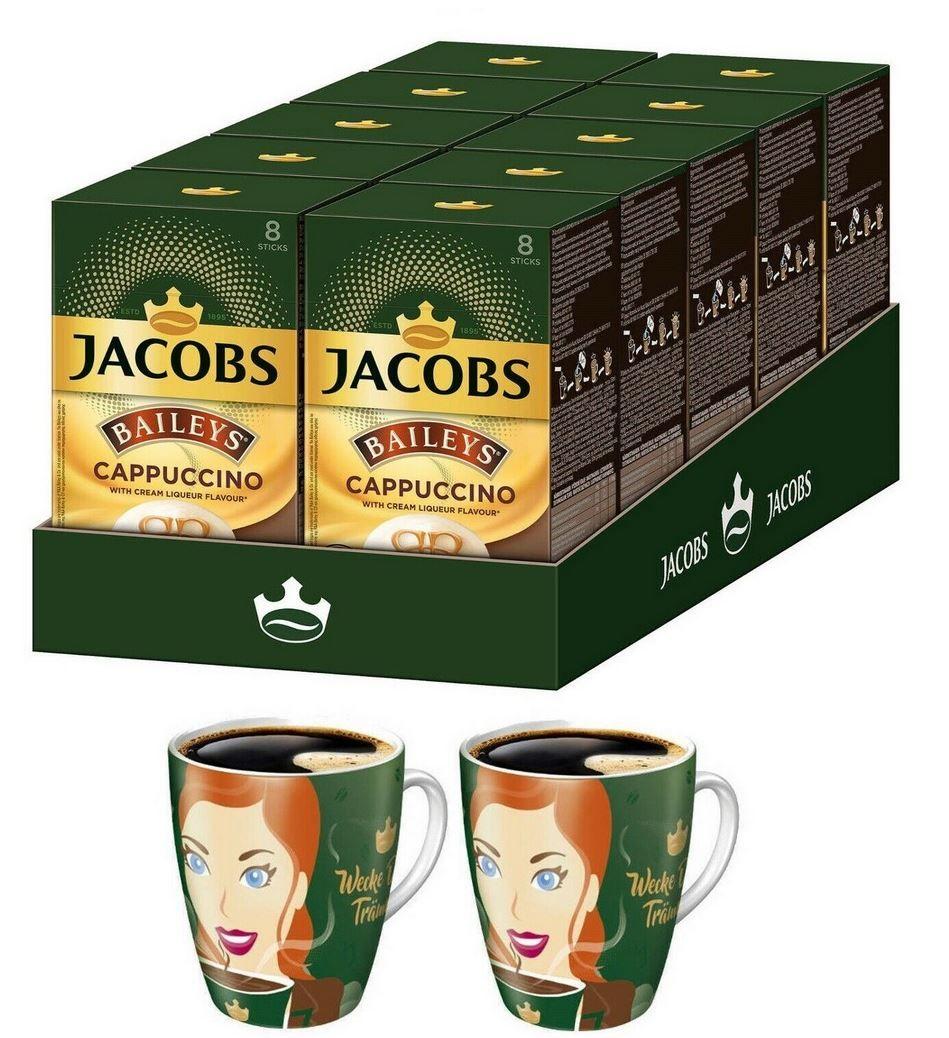 Wieder da! JACOBS Cappucino Baileys 10 x 8 Getränke Kaffee Sticks + 2 Ritzenhoffbecher für 17,90€ (statt 39€)