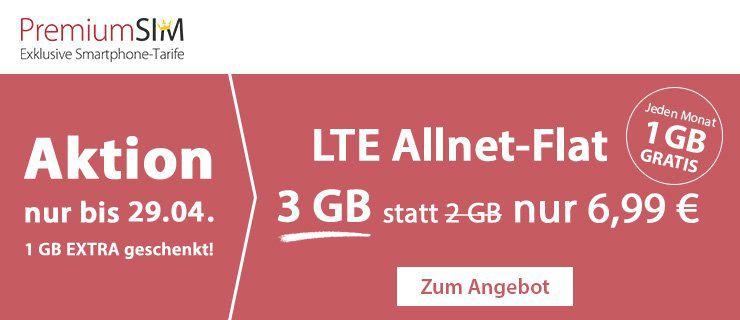 Nur noch heute! PremiumSIM mit 3GB LTE nur 6,99€ mtl. + keine Anschlussgebühr bei Laufzeit