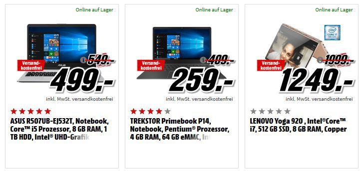 Media Markt Windows Tiefpreisspätschicht: günstige Notebooks & Convertibles