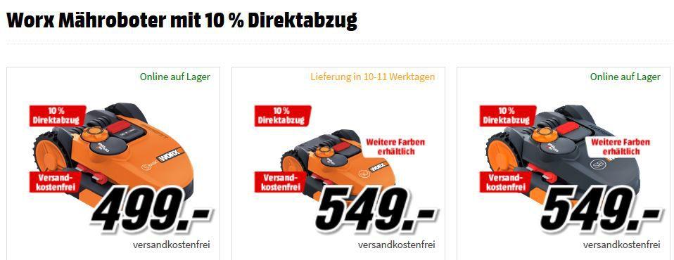 Media Markt Worx Aktion: Mähroboter und Zubehör mit 10% extra Rabatt