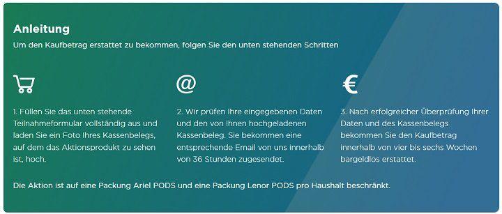 Geld zurück: Ariel und Lenor 3in1 PODS Waschmittel