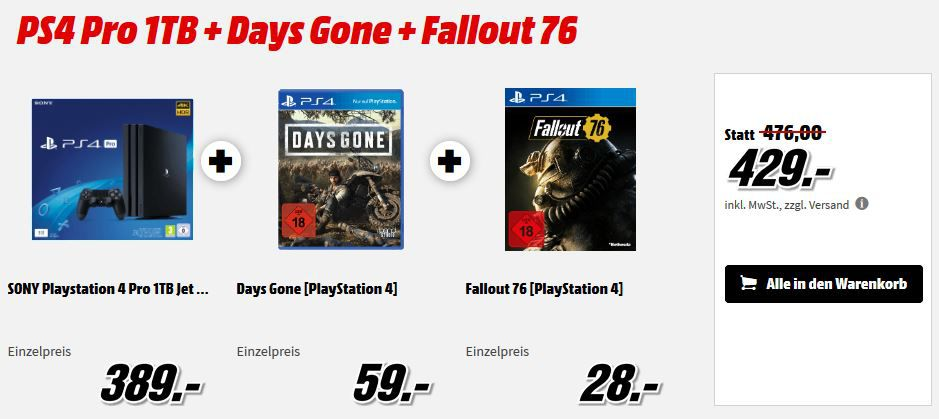 Media Markt PS 4 Konsolen & Contoller Bundle Aktion : z.B. PS4 Slim 1TB + Days Gone für 335, € (statt 388€)
