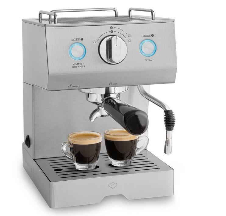 Springlane Emilia Siebträger Edelstahl Kaffeemaschine mit Milchaufschäumer für 89,90€ (statt 120€)