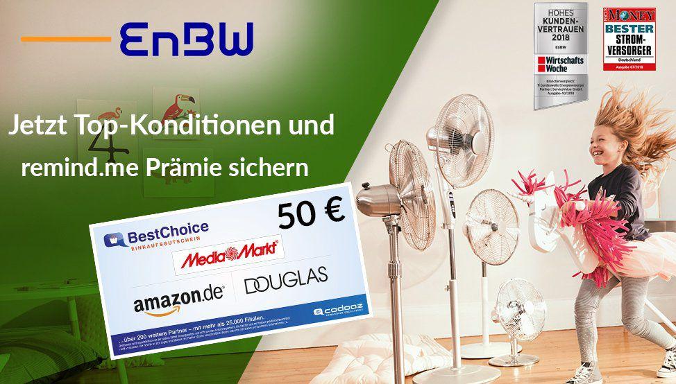 Endet heute! 🔥 EnBW Direkt Stromtarife mit bis zu 20% Rabatt + 50€ Gutschein als Prämie   günstiger als Verifox & Check24!