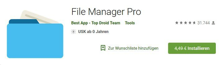 Android: File Manager Pro kostenlos (statt 4,49€)