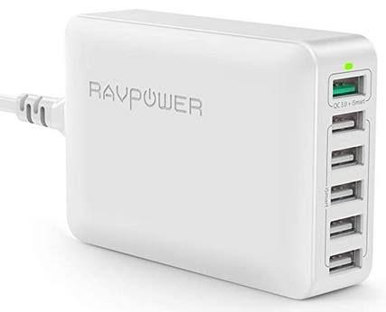 RAVPower RP PC029   6 Port 60W Ladegerät mit QC 3.0 für 19,99€ (statt 27€)