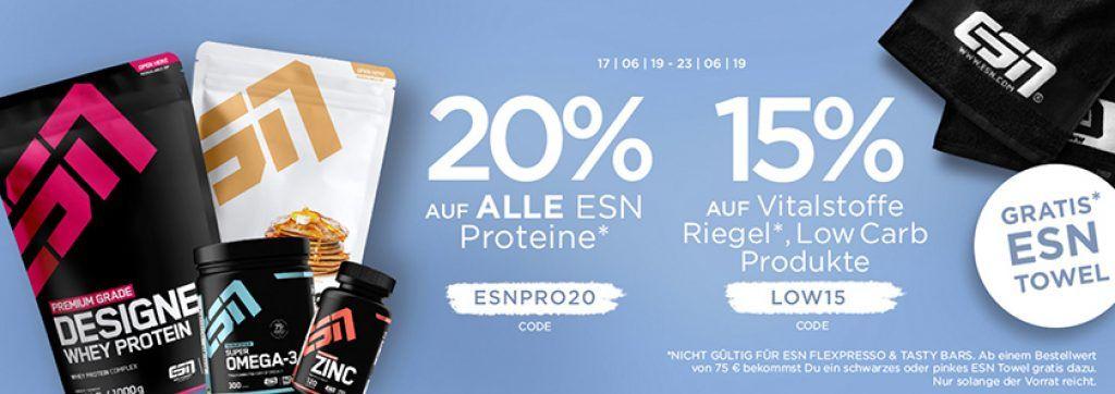 20% auf ESN Proteine oder 15% auf Creatine & Booster bei Fitmart   z.B. 4kg ESN Whey für 60€