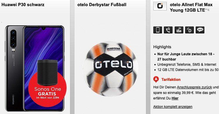 Huawei P30 + Sonos One für 169,95€ + Otelo Allnet Flat im Vodafone Netz mit 10GB für 29,99€