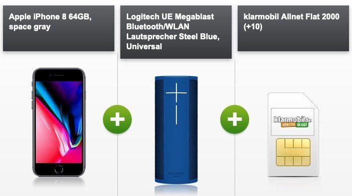 Apple iPhone 8 mit Logitech UE Megablast für 4,95 +  Klarmobil Allnet Flat im Vodafone Netz mit 2GB für 29,99 mtl.