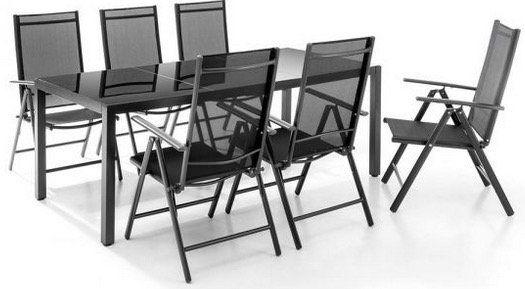 Ausverkauft! Chillroi Aluminium Sitzgruppe 7teilig (1x Tisch mit Glasplatte, 6x Klappstuhl) für 233,95€