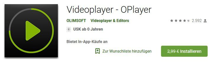 Android: Videoplayer   OPlayer kostenlos (statt 2,99€)