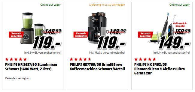 MM Oster Sparen: Philips und Saeco Geräte   z.B. Philips HR3657 Standmixer für 119€ (statt 149€)