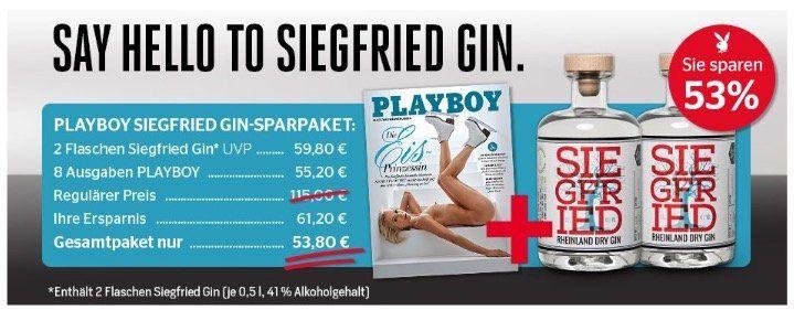 8 Ausgaben Playboy + 2x Siegfried Rheinland Dry Gin (Wert 56€) zusammen 53,80€