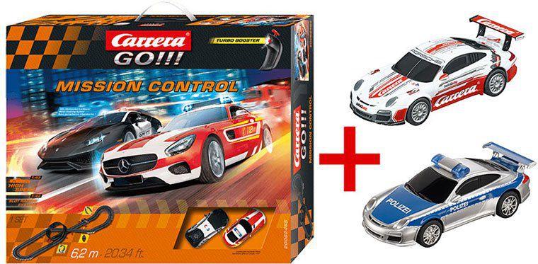 Carrera GO!!! Mission Control Rennbahn + Porsche GT3 Polizei & Race Taxi ab 59€ (statt 96€)