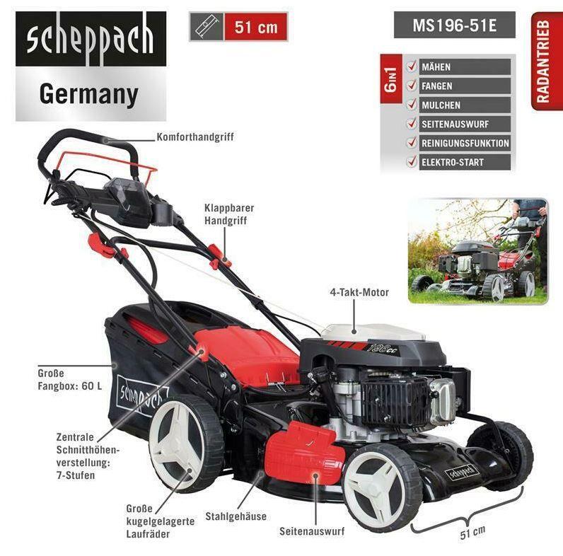 Scheppach MS196 51E   Benzin Rasenmäher (6PS) mit EStart & Antrieb für 279€ (statt 319€)