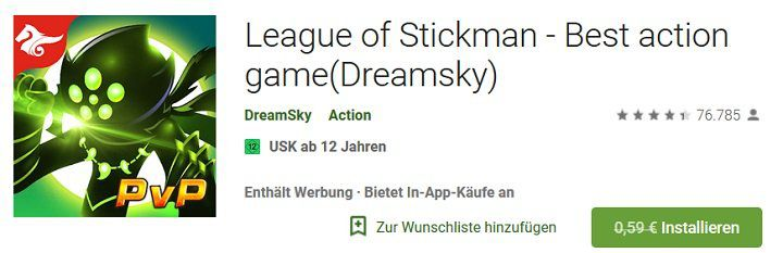 Android: League of Stickman   Best action game (Dreamsky) kostenlos (statt 1€)