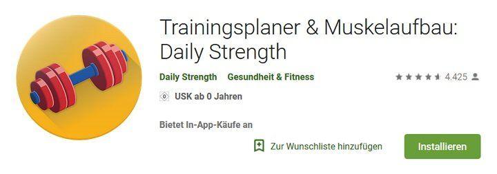 Android & iOS: Trainingsplaner & Muskelaufbau: Daily Strength gratis (statt 10€)