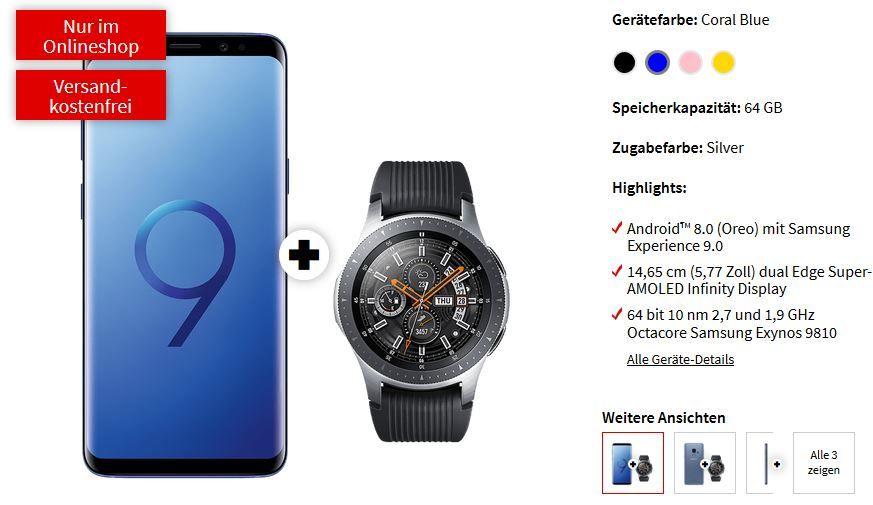 Samsung Galaxy S9 mit Galaxy Watch 46mm für 29€ + o2 Free M mit 10GB LTE für 29,99€ mtl.
