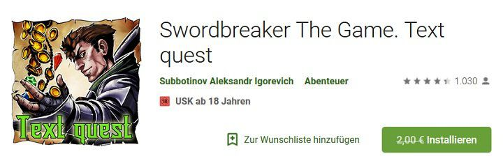 Android: Swordbreaker The Game. Text quest kostenlos (statt 2€)