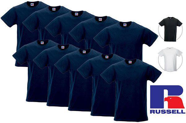 10er Pack Russell T Shirts in Blau, Schwarz oder Weiß für je 32,90€