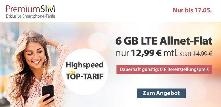 o2 Allnet Flat von PremiumSIM mit 6GB LTE für nur 12,99€ mtl. + keine Anschlussgebühr