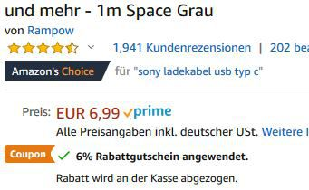 Rampow USB C Kabel mit 1 oder 2m ab 4,47€   Prime
