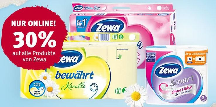 Rossmann: 30% Rabatt auf ZEWA Produkte