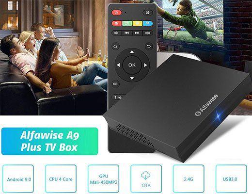 Alfawise A9 Plus 4K TV Box mit 4GB RAM & 32GB Speicher mit Android 9 für 33,68€