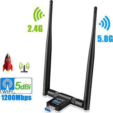 PiAEK WLAN Dual Band USB Adapter mit 2 schwenkbaren Antennen für 11,99€ (statt 20€)