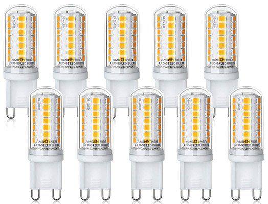 AMBOTHER 10er Pack LED Lampen Sockel G9 mit je 4W für 9,49€ (statt 19€) Prime