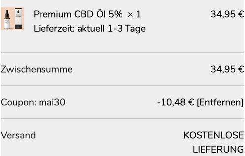 30% Rabatt bei Traumtopfen + keine VSK   günstiges Premium CBD Öl