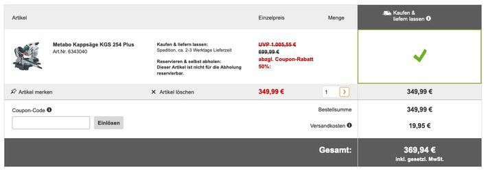 Vorbei! Metabo Kappsäge KGS 254 Plus für 369,94€ (statt 590€)