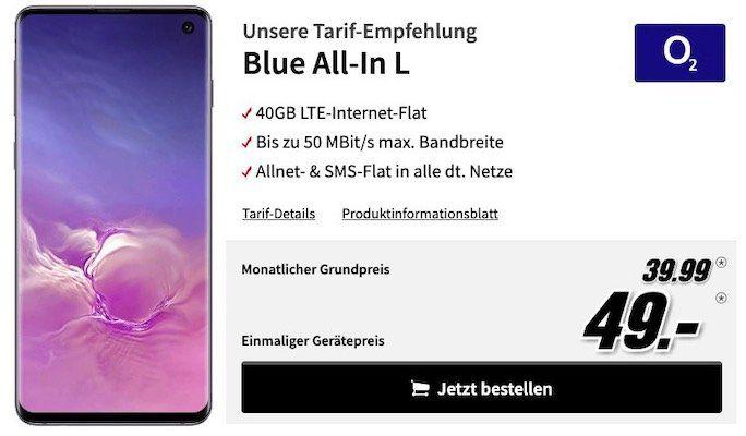 Samsung Galaxy S10 für 49€ + o2 Allnet Flat mit 40GB LTE (!) für 39,99€mtl.