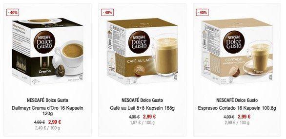 NESCAFÉ Dolce Gusto 16 Kapseln verschiedene Sorten für 2,99€ (statt 4,50€)   ab 40€ vsk frei