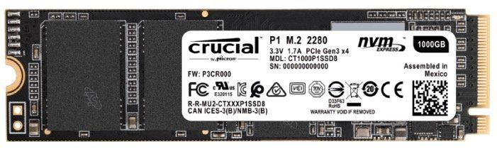CRUCIAL P1 interne SSD (M.2, 1TB) ab 101€ (statt 113€)