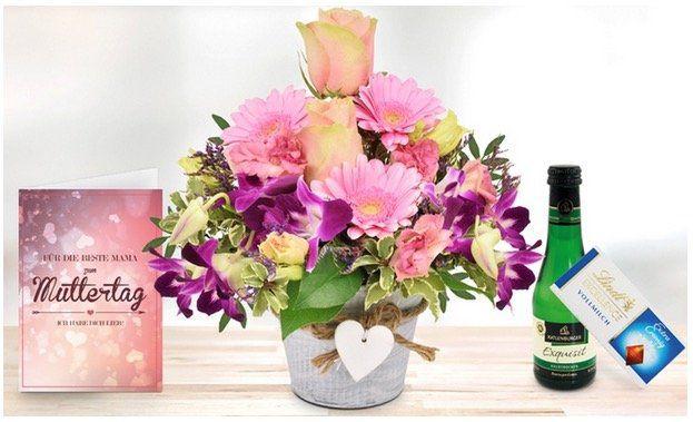 Muttertag! Blumen Arrangement im Herztopf mit Lindt Schokolade, Piccolo und Grußkarte nur 16,94€