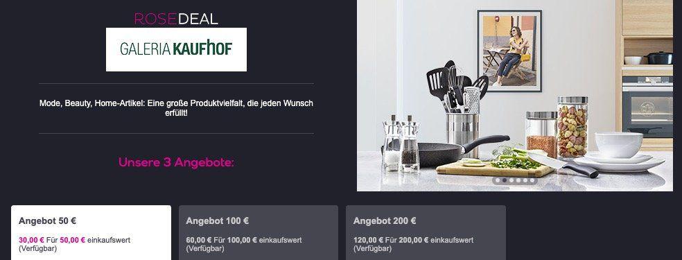 Galeria Kaufhof Gutscheine bei vente privee   z.B. 200€ Gutschein für nur 120€