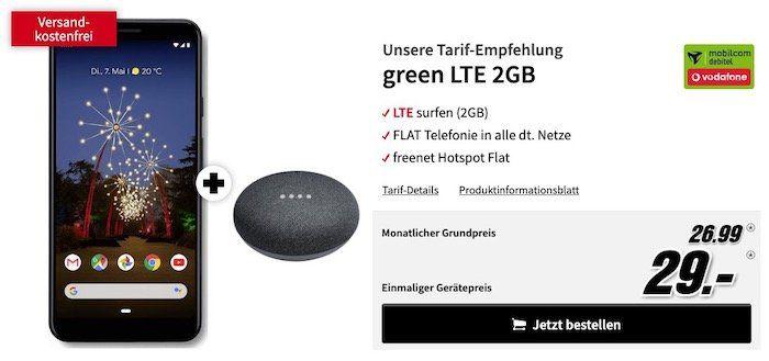 Das neue Google Pixel 3a XL + Google Home mini für 29€+ Vodafone Allnet Flat mit 2GB LTE für 26,99€ mtl.