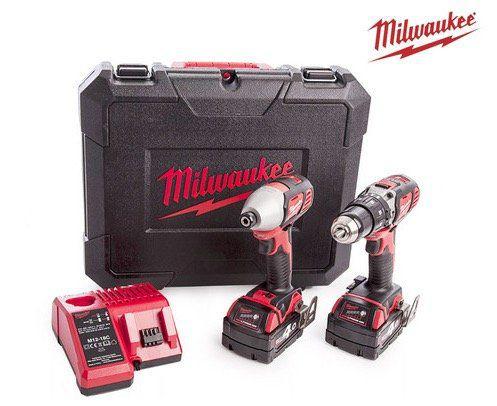 Milwaukee 18V Kombiset (Schlagbohrschrauber, Schlagschrauber, 2 Akkus je 4 Ah) im Koffer für 278,90€ (statt 320€)