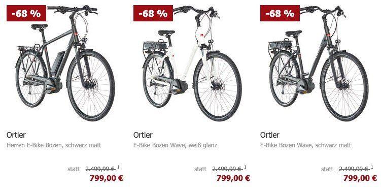 Vorbei! (Preisfehler?) Ortler Bozen Damen E Bike mit unterschiedlicher Rahmenhöhe für 799€ (statt 1.799€)