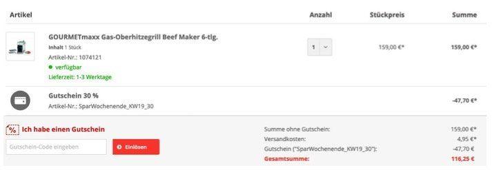 🔥 GOURMETmaxx Beef Maker für Temperaturen um 800°C für 116,25€ (statt 159€)