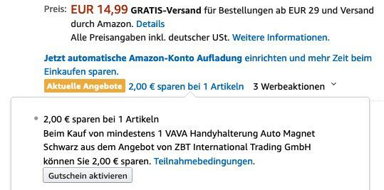 Vava Handyhalterung fürs Auto mit superstarkem Magneten für 8,79€ (statt 15€)