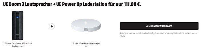 Ultimate Ears Boom 3 wasserfester Bluetooth Lautsprecher + Ladegerät für 111€ (statt 159€)
