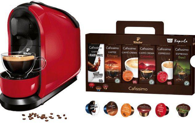 TCHIBO Cafissimo Pure Kapselmaschine in Rot für 39€ (statt 45€) + 60 Kapseln geschenkt