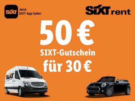 50€ Sixt Gutschein für 30€   gilt nur in Deutschland ab 3 Tage Mietlänge