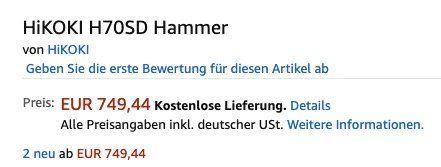 Fehler? Hikoki H70SD Abbruchhammer 28mm Sechskant 1.240 Watt für 749,44€ (statt 1.392€)