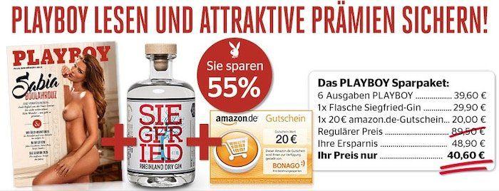 6x Playboy + Siegfried Gin + 20€ Amazon Gutschein für nur 40,60€